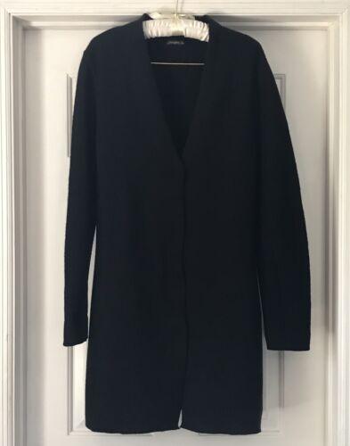 J McLaughlin Black Wool Coat Cardigan M Medium