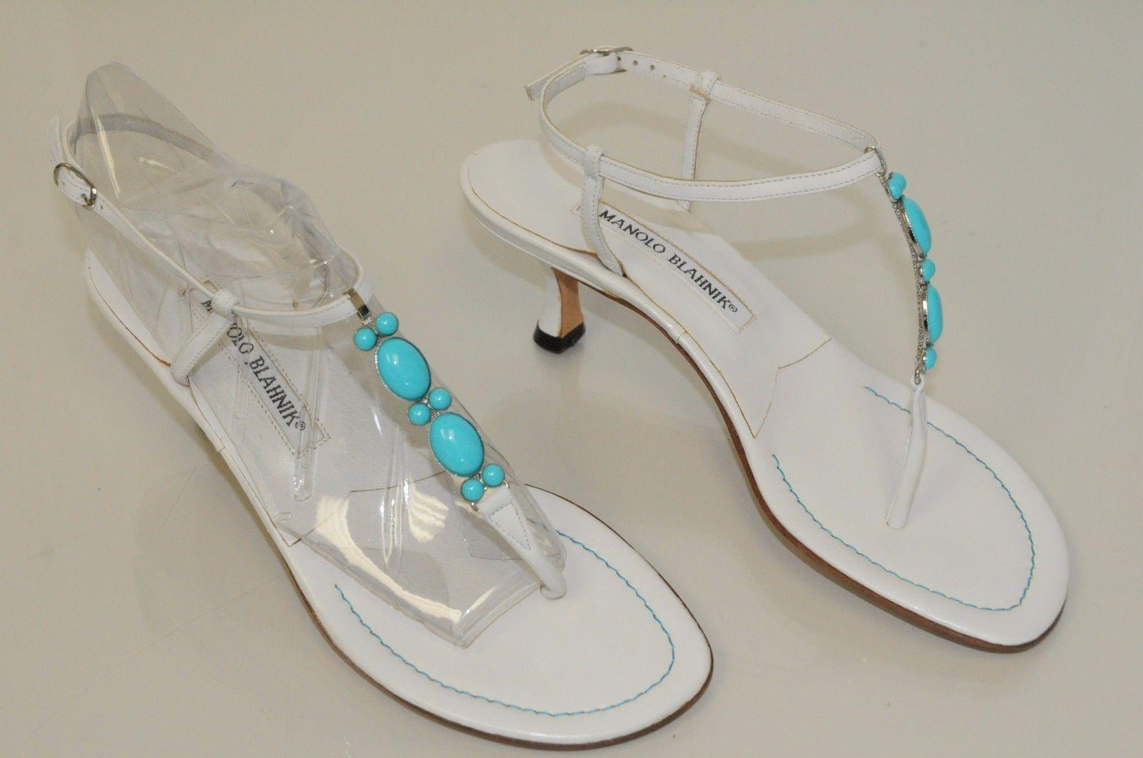 New  MANOL BLOHNIK BIANCE Turchese Jeweled Thong SANDALS Kitten Heels scarpe 38.5  per il tuo stile di gioco ai prezzi più bassi