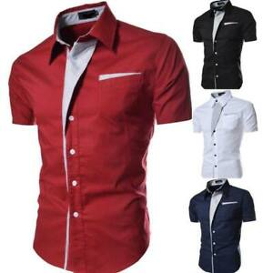 New-Summer-stylish-casual-luxury-tops-slim-fit-formal-short-sleeve-men-039-s
