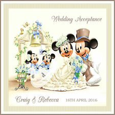 Item 1 Personalised Handmade Beautiful Wedding Acceptance I Card Disney