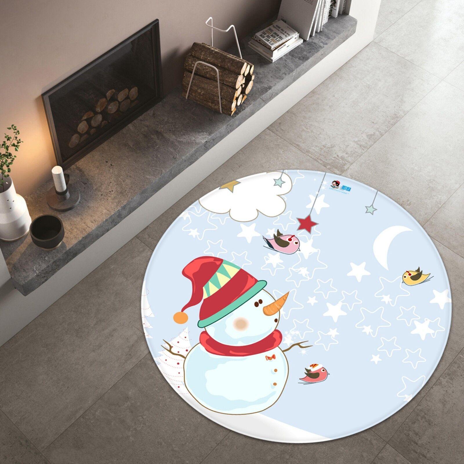 3D Christmas Xmas 036 Non Slip Rug Mat Room Mat Round Quality Elegant Carpet AU