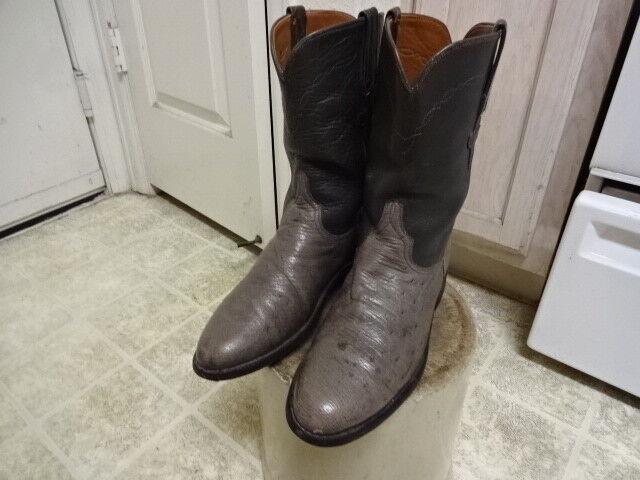 botas De Vaquero Vintage LUCCHESE occidental Buen Estado De Avestruz Hecho en EE. UU. hombres 8D