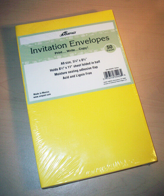 Yellow A9 Envelopes 50 Count
