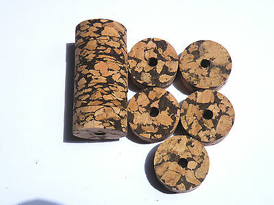 "Smart 10 Burl Cork Rings 11/4""x1/2"" W+b Bore 1/4"" Rods"