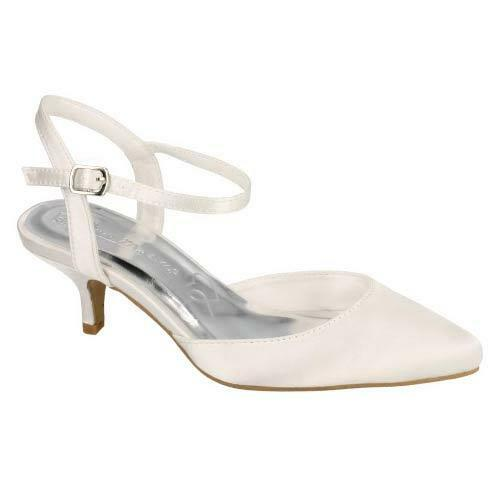 LADIES WEDDING SHOES WOMENS HEELS SATIN BRIDAL BRIDESMAID IVORY WHITE COURT SIZE