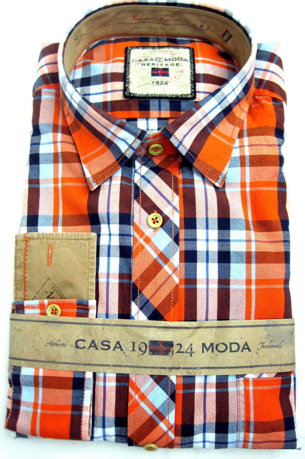 Casa Moda Heritage Camicia Oxford a Quadri Tempo Tempo Tempo Libero Camicia ARANCIONE MANICA LUNGA L, XXL 80fed6