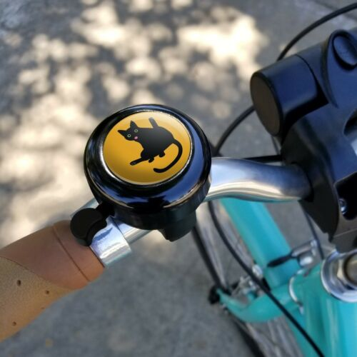 Black Cat Lifting Leg and Licking Bicycle Handlebar Bike Bell