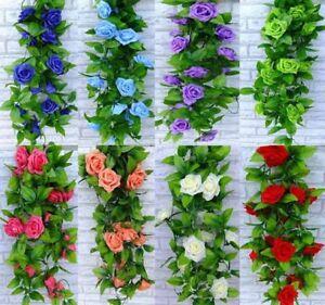 2-X-8Ft-Artificial-Rose-Garland-Silk-Flower-Vine-Ivy-Wedding-Garden-String-Decor