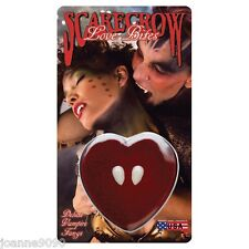 HALLOWEEN SCARECROW LOVE BITES SMALL DELUXE VAMPIRE FANGS CAPS HEART DISPLAY BOX