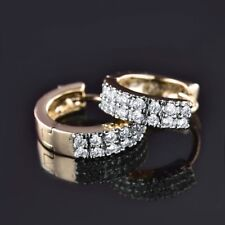 Charms Clear Topaz Crystal Women Promise Gold Platinum Filled Hoop Earrings