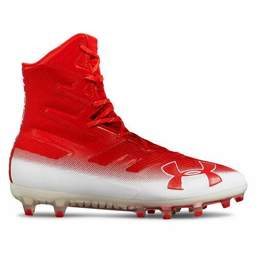New Under Armour Highlight MC Lacrosse//Football Cleats Red//White Sz 9 M