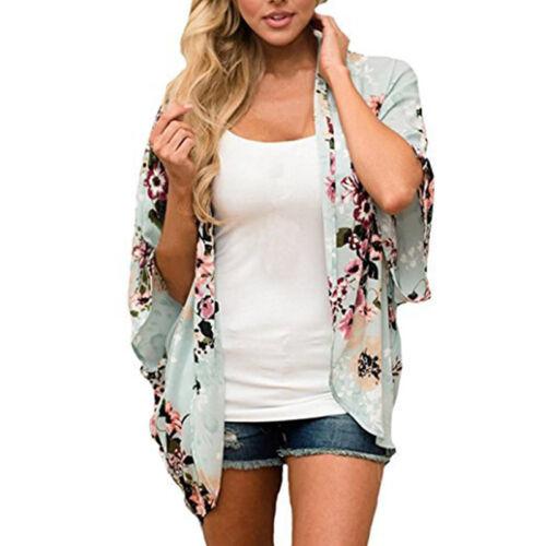 Plus Size Women Boho Kimono Blouse Coat Floral Cardigan Jacket Beach Cover Tops