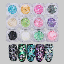 12 Colors/set  3D Irregular Seashell Sequins Ultra-thin  Manicure Nail Art Decor