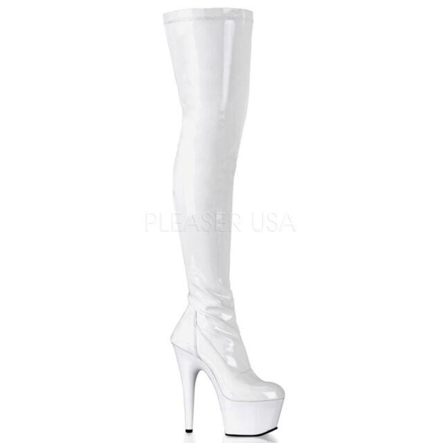 Pleaser Seduce3028 Women S Ribbon W Grommet Stretch Thigh High Boots 9 Blk Str Pat For Sale Ebay