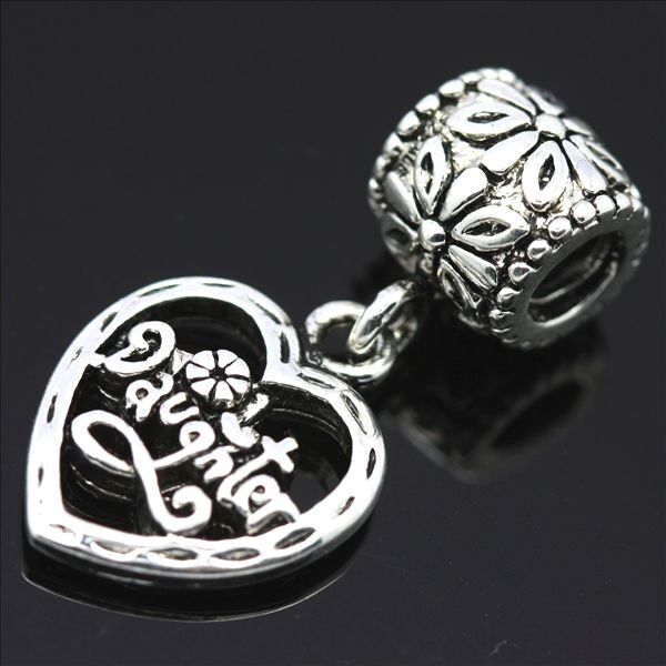 Daughter heart Silver pendant European charms bead For Bracelet/Necklace Chain