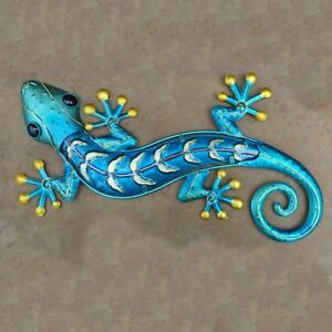 Image Is Loading Large Blue Gold Gecko Metal Wall Art Gl
