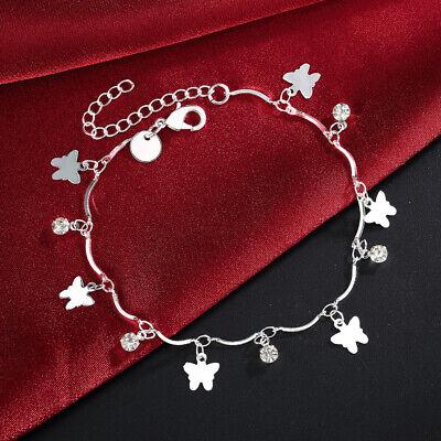 Womens 925 Sterling Silver Butterfly Heart Link Chain Foot Ankle Bracelet #AB11