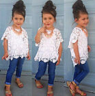 3Pcs Baby Girls Dress White Coat + Shirt + Denim Pants Set Kids Clothes Outfit-@