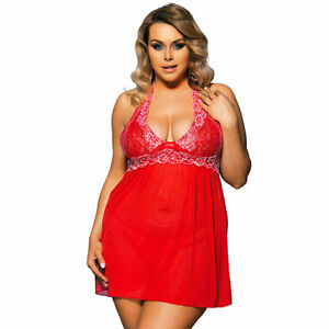 b7610c955 Plus Size Red and White Lace Chemise Babydoll Women s Lingerie L to ...