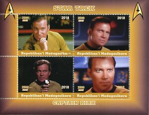 Madagascar-2018-CTO-Star-Trek-Captain-Kirk-William-Shatner-4v-M-S-Movies-Stamps