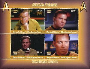 Madagascar 2018 CTO Star Trek Captain Kirk William Shatner 4v M/S Movies Stamps