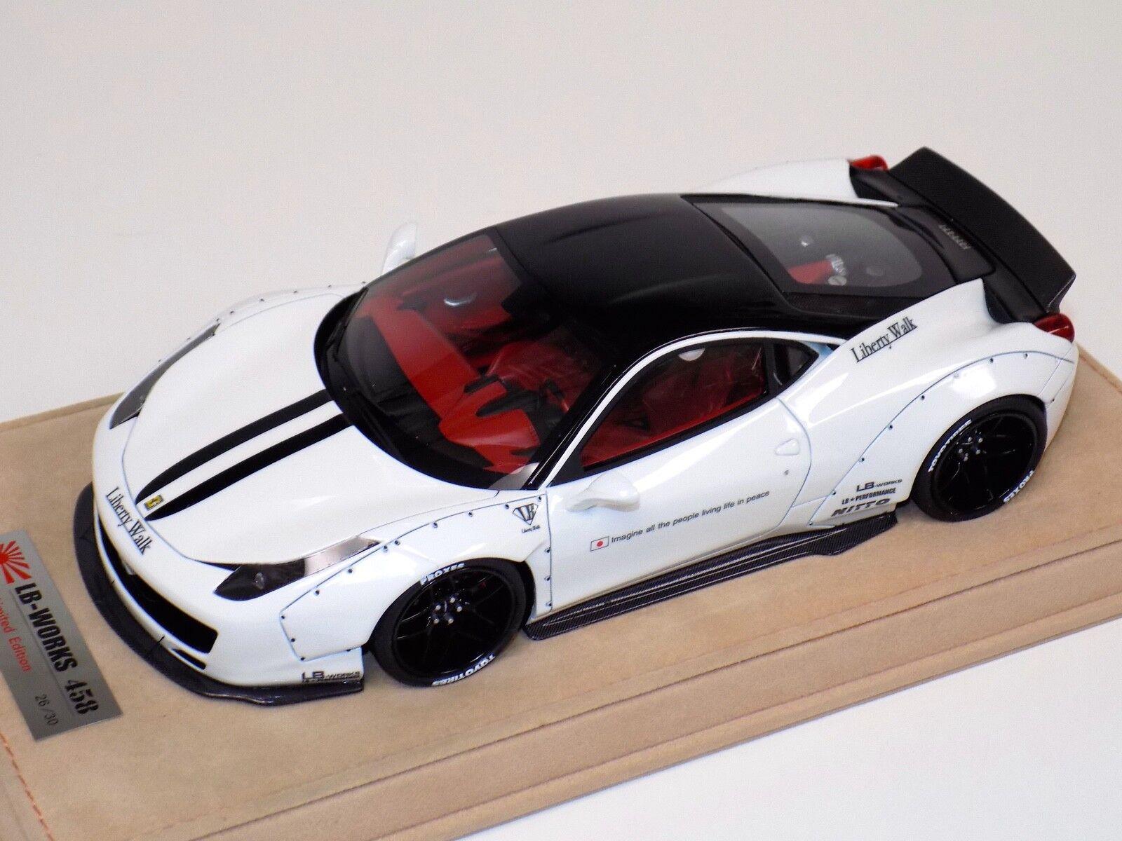 1 18 Ferrari 458 Liberty Walk LB Performance White Black Top & Stripe BBR   MR B