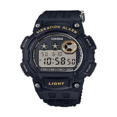 Casio Men's W735HB-1AV Super Illuminator Vibration Alarm Black Velcro Band Watch