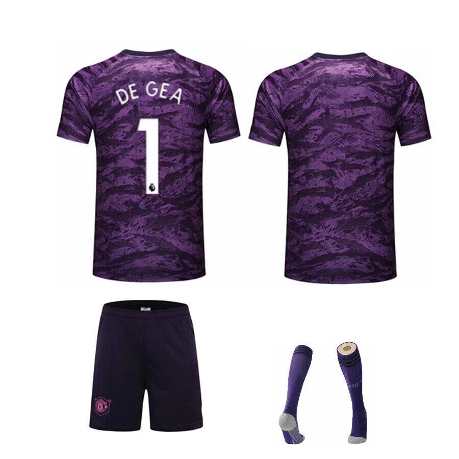 19//20 Home Red// Goalkeeper Purple Football Strip Kit Socks Boys size adult hot