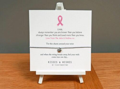 Good Luck Get Well Soon Personalised Handmade BREAST CANCER Wish Bracelet