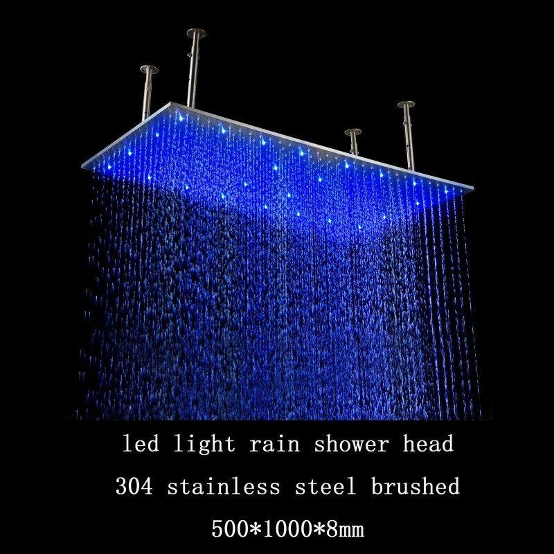 rectangular rain shower head. VidaXL Rain Shower Head  40 Quot Rectangular Brushed Stainless Steel Led Rainfall Large