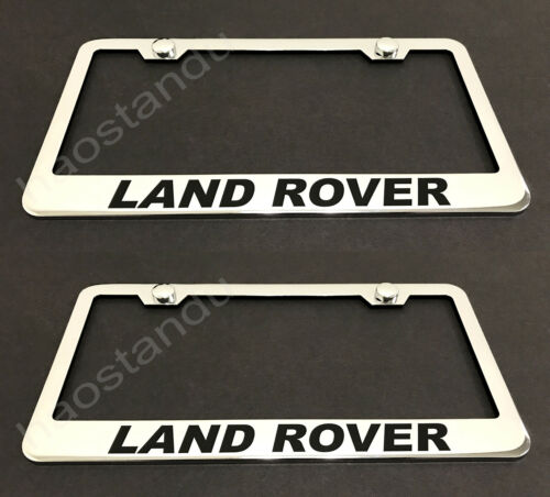2xLandRover STAINLESS Chrome License Plate Frame w//screw Caps