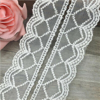 1/3/5 Yards Embroidered Lace Edge Trim Wedding Bridal Mesh Net Sewing DIY Craft