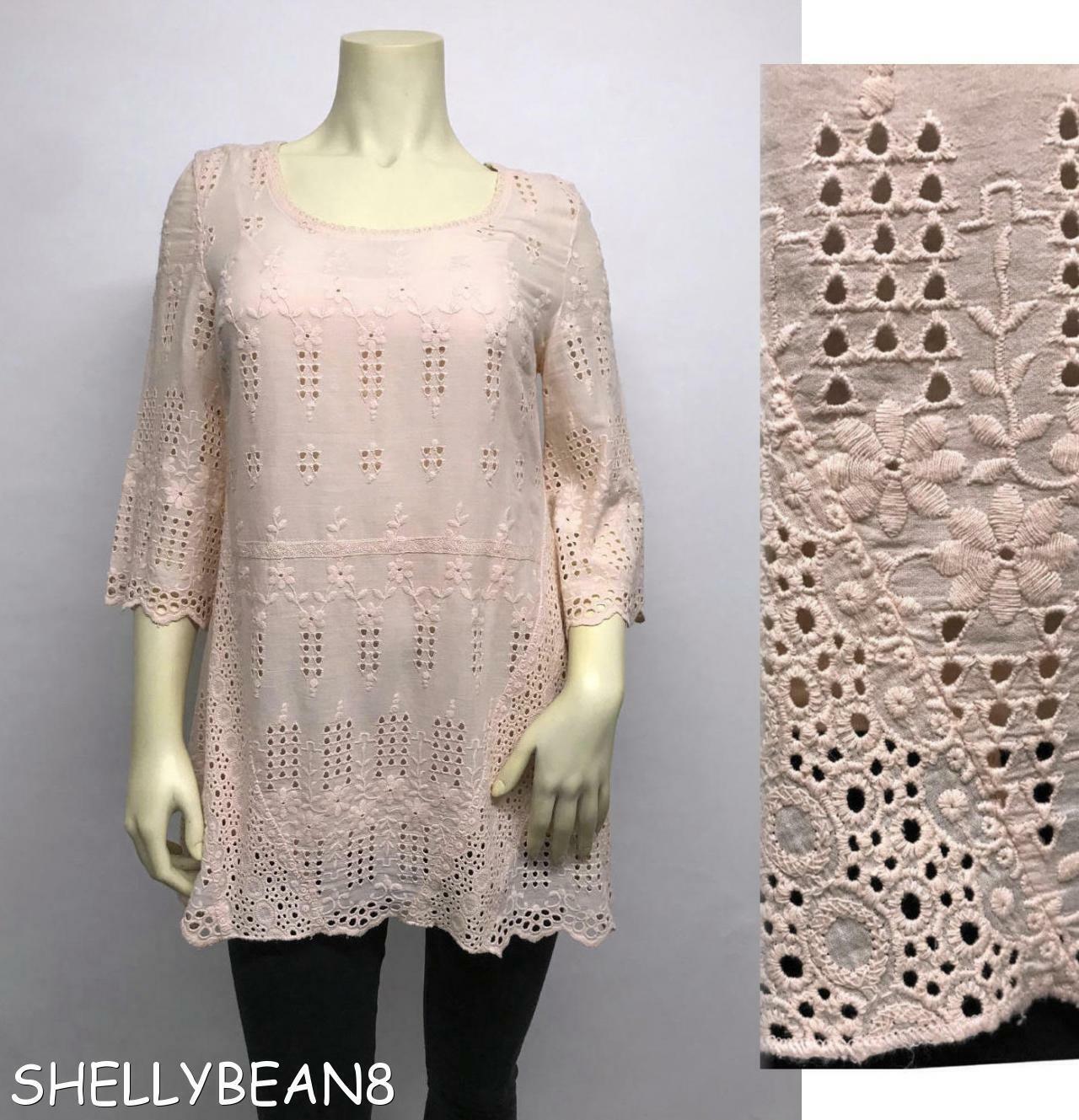 SUNDANCE CATALOG Embroiderot Cotton EYELET TUNIC Blouse Top & Slip HANKY HEM XS