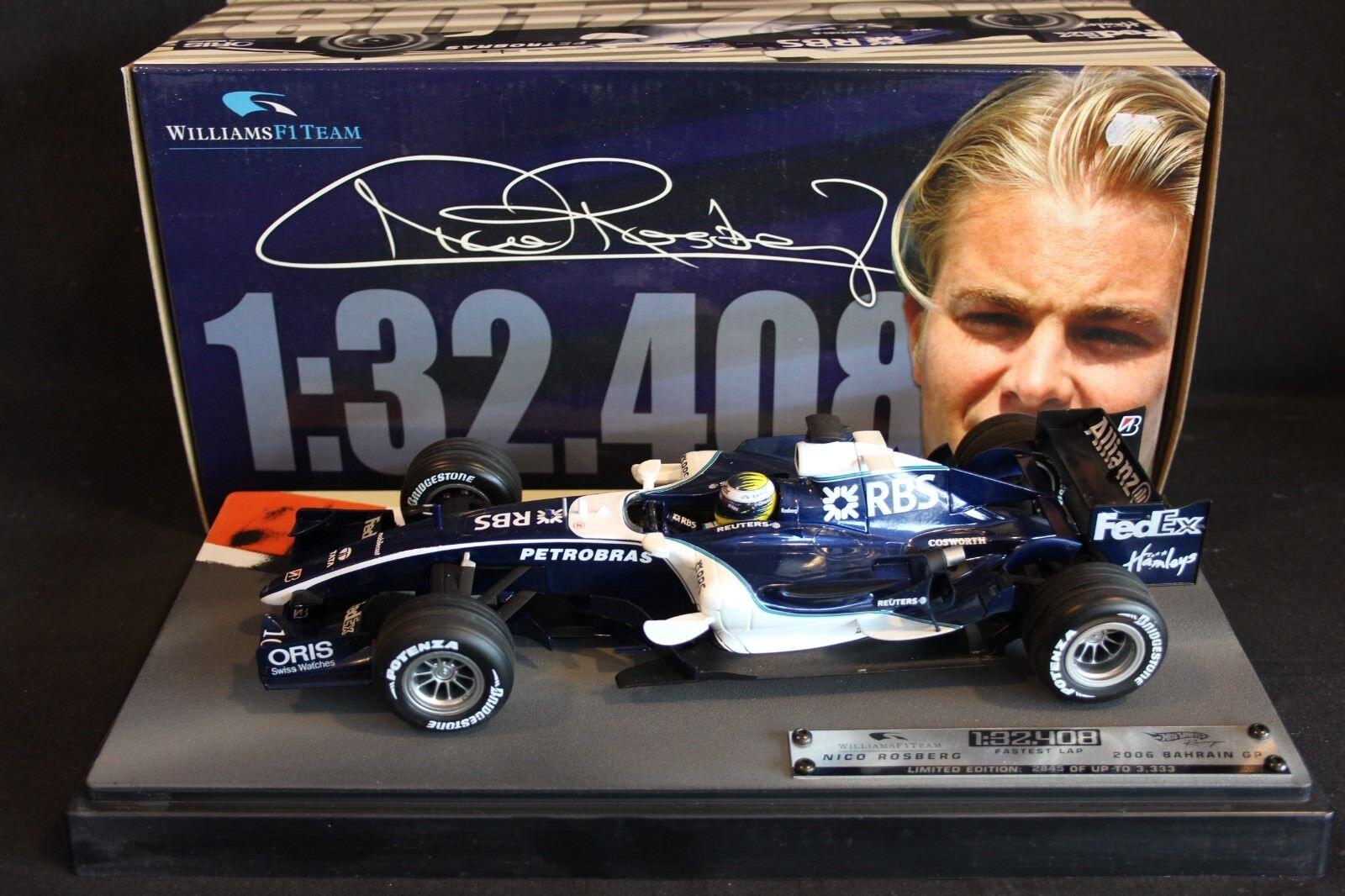 Hot Wheels Williams Cosworth FW28 06 1 18 Nico Rosberg Fastest Lap 1.32.408