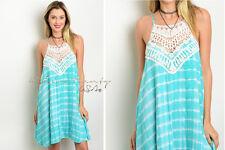 ENTRO Mint Aqua Tie dye Lace CROCHET FESTIVAL Boho Gypsy Boho Halter Sun Dress S