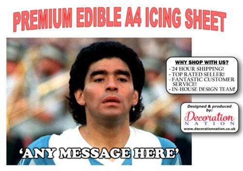 Diego Maradona Joueur Personnalisé A4 Glaçage Comestible Cake Topper Anniversaire Football