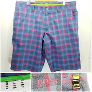 Hugo-Boss-Green-Label-Mens-Size-38-Shorts-Blue-Pink-Plaid-Checks