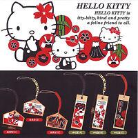 Hello Kitty Japanese Pattern Ema / Kifuda Netsuke Phone Charm Tags 6pc Set 23c64
