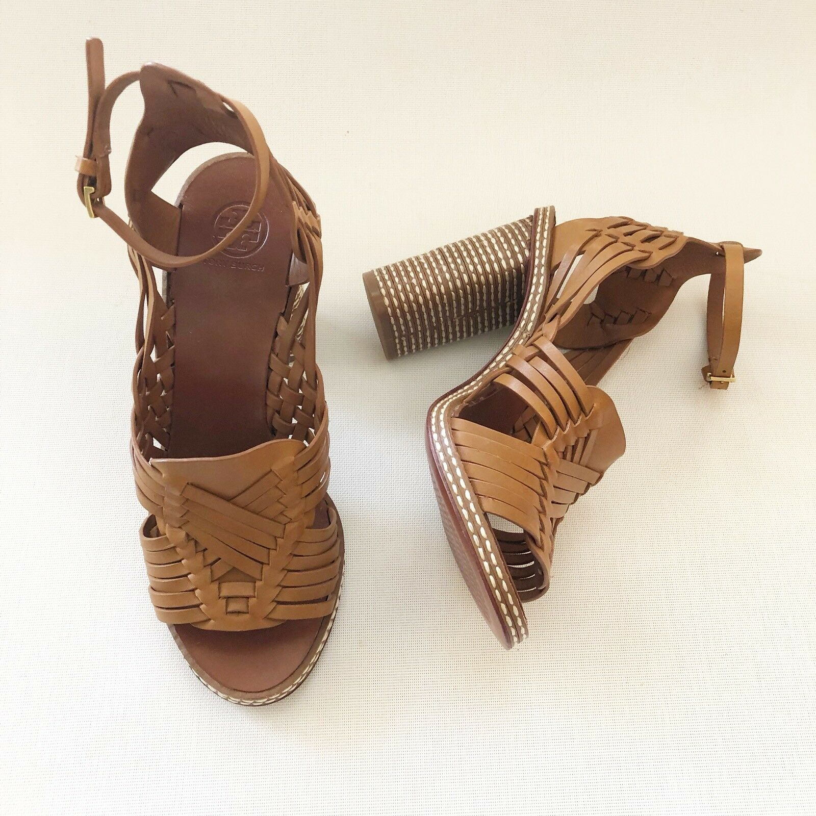Donna's Tory Leather Burch Pecha High Heel Leather Tory Sandals Size 8 NEW! 677f8e