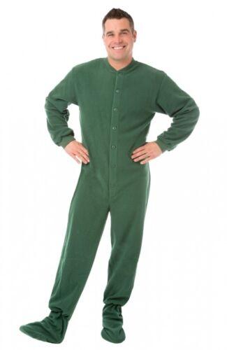 Hunter Green Fleece Adult Footed Pajamas Footie Drop Seat Mens Womens PJs