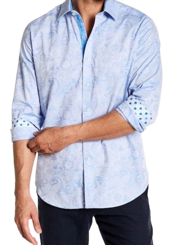Robert Graham Coolbrook Classic Fit Paisley Print Shirt bluee 3XL