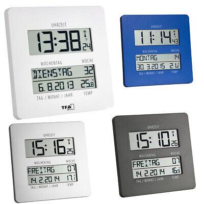 Funkuhr mit Temperatur 60.4509.02 TFA Dostmann Time Line Digitaluhr mit Wochentag und Datum Wanduhr digital wei/ß