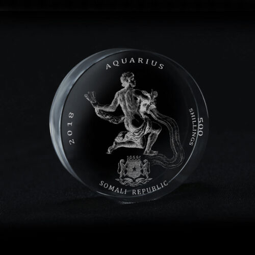Somali Republic 500 Shillings Signs of Zodiac Aquarius Crystal Coin 2018 Rare
