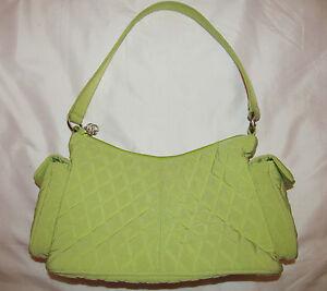 79b2d9a73f VERA BRADLEY lime green quilted side pockets satchel shoulder tote ...