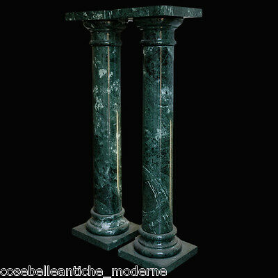 Complementi D'arredo Expressive Coppia Di Colonne In Marmo Verde Alpi Green Marble Columns Made In Italy H.100cm Moderate Price Arredamento D'antiquariato