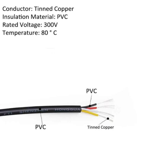 White//Black UL2464 22AWG Soft Cable Signal Control Wire 2//3//4-Core Tinned Copper
