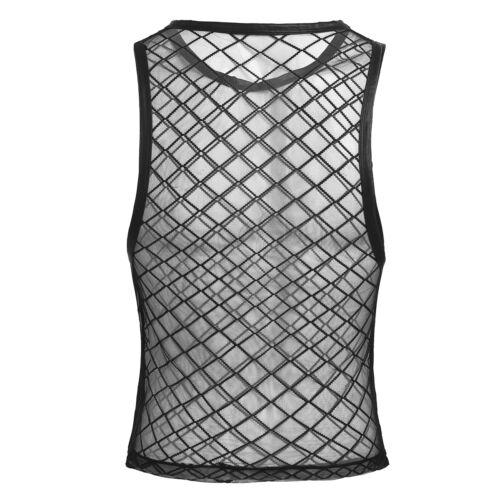 Mens Muscle Fishnet Mesh Net Sheer Vest Tank Tops String Clubwear Undershirt