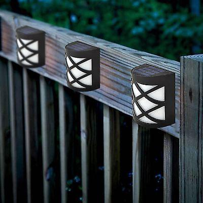 2pcs Solar Ed Fence Lights Step Door Wall Bright 6 Led Garden Outdoor Ebay