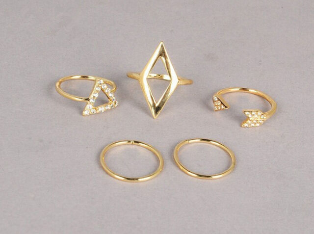 5pcs/set Mid Midi Above Knuckle Ring Band Gold Silver Tip Finger Stacking hs