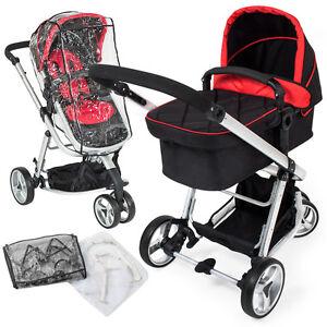 Tectake 3 en 1 sillas de paseo coches carritos para bebes convertible negro – rojo